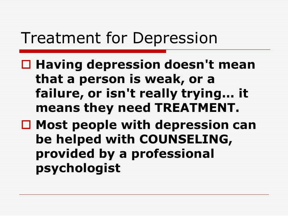 Treatment Plans For Depression